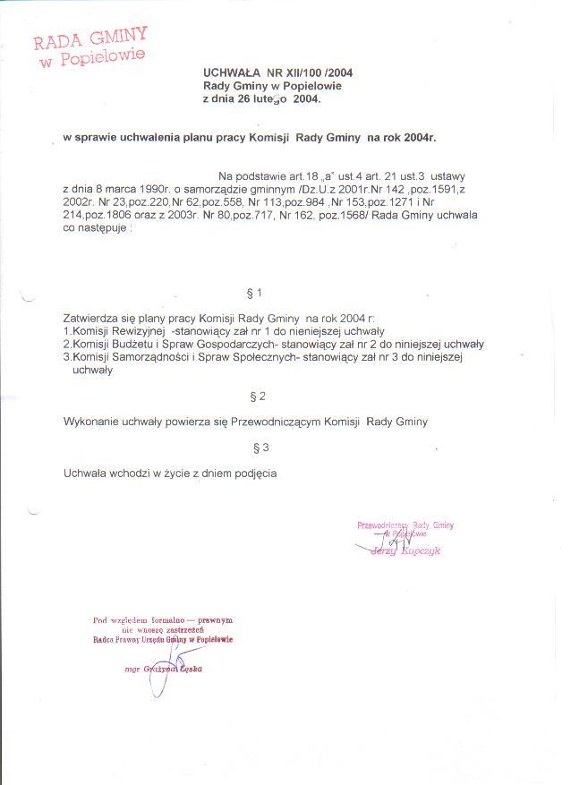 Uchwała Rady Gminy  Nr XII-100-2004 w sprawie uchwalenia planów pracy.jpg